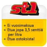 ST1 Visa vuosimaksuton luottokortti